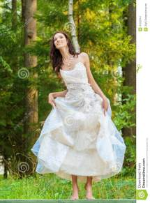 Beautiful Bride In White Wedding Dress Stock