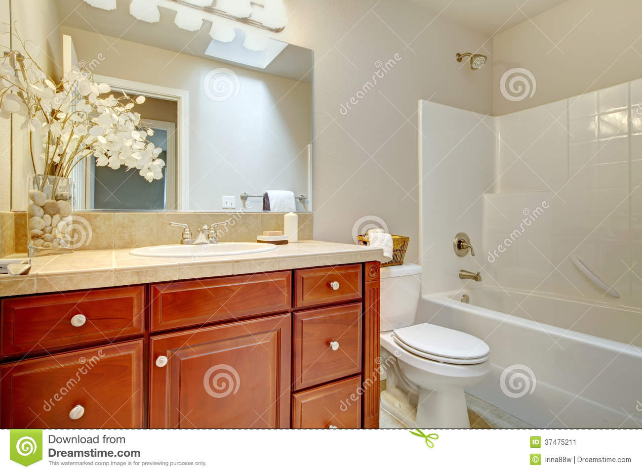 Beautiful Bright Bathroom With Cherry Wood Cabinets Stock Image  Image 37475211