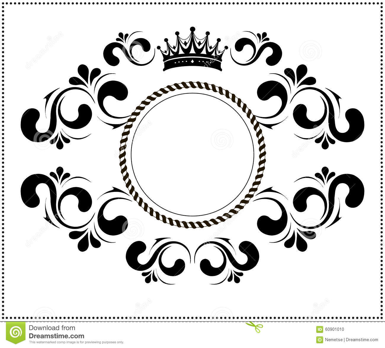 Beautiful Calligraphic Frame With Crown Stock Vector