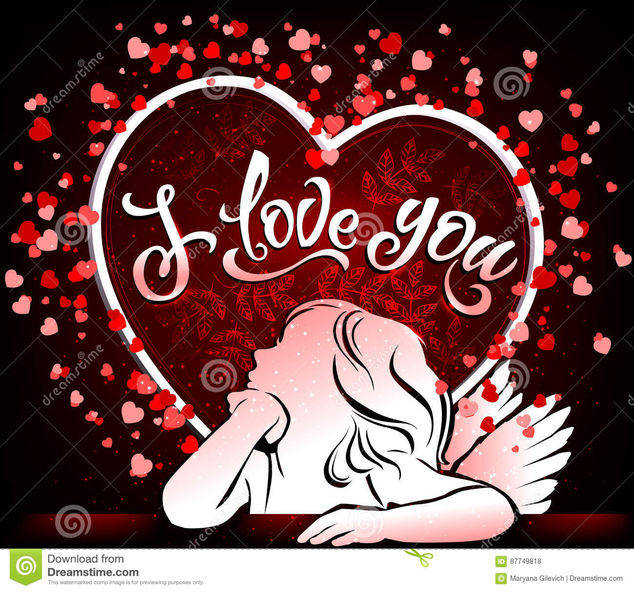Love You Bilder Beautiful Card I Love You With Angel Stock Vector - Illustration Of Design, Heart: 87749818