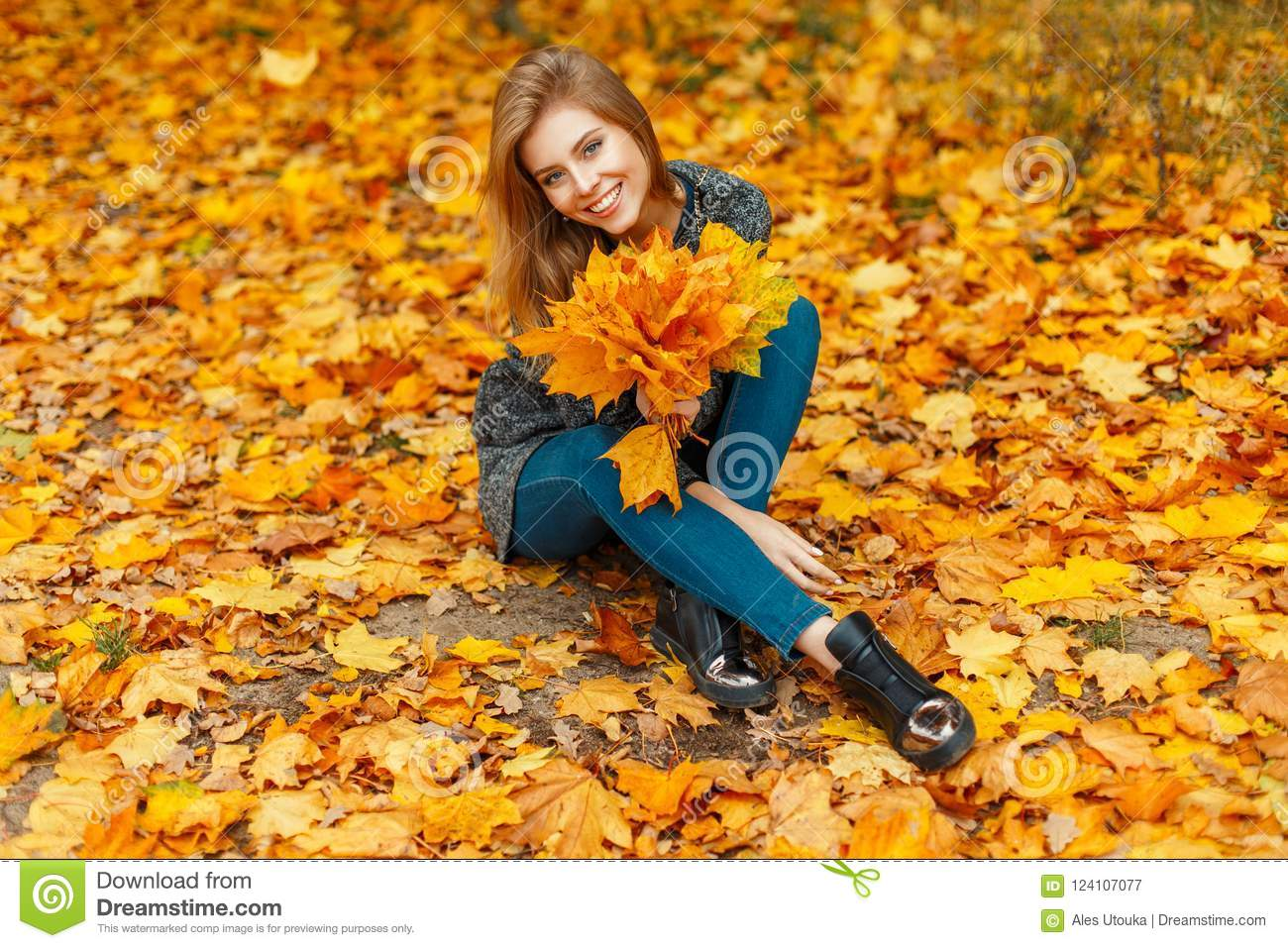 Beautiful Cheerful Woman With A Smile In A Happy Mood With Stock Image Image Of Beauty Color 124107077
