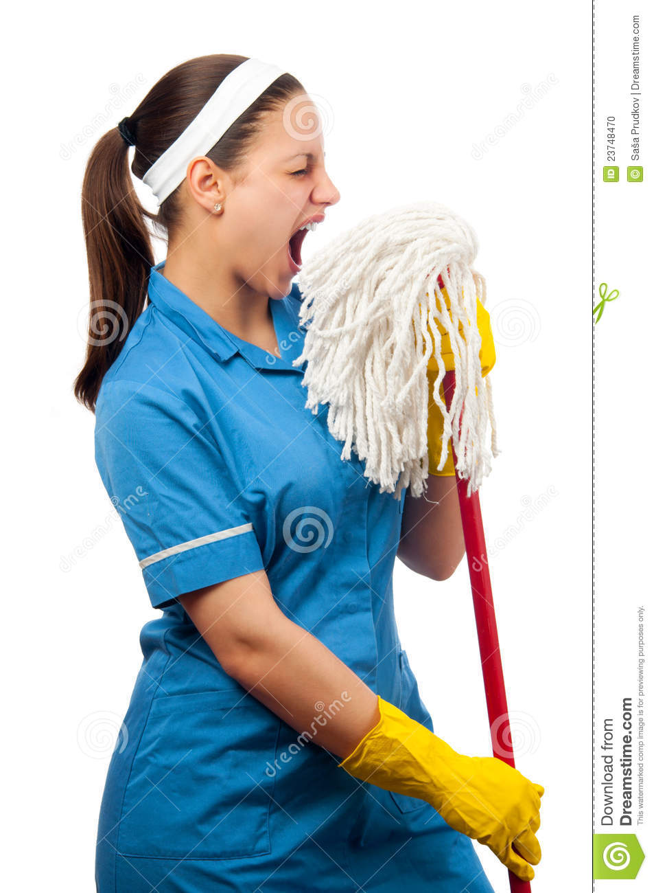 Beautiful Cleaning Lady Pretending To Be A Singer Stock