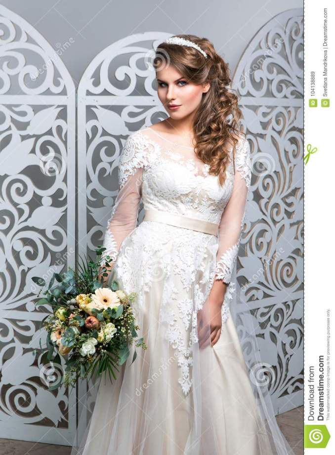 beautiful girl in wedding gown stock image - image of hair