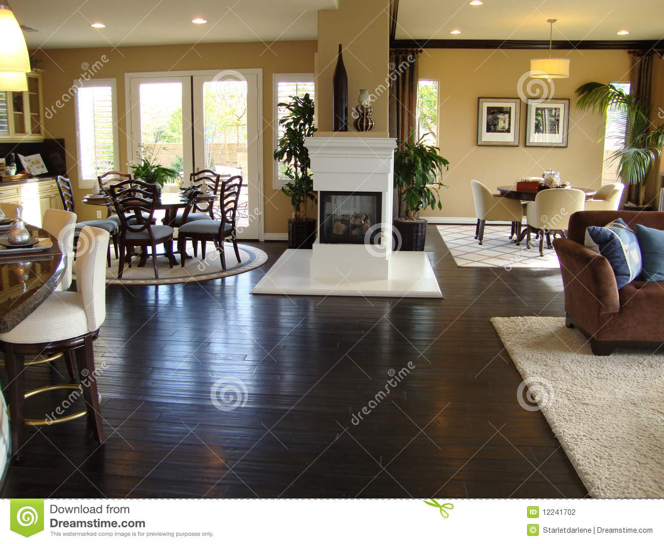 Beautiful Dining And Family Room Stock Photo Image Of Doors Couch 12241702