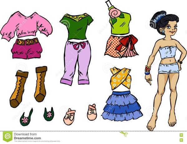 Beautiful Dress Up Paper Doll Stock Vector Image 74050860