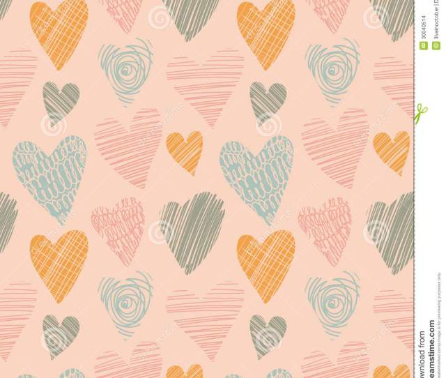 Romantic Cute Pattern With Hearts Doodle Heart Abstract Love Background In Vintage Style Vector Illustration Illustration  Megapixl