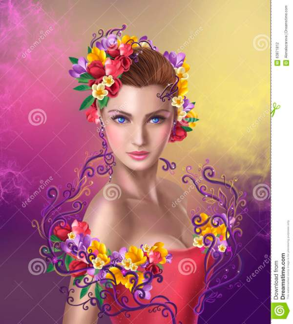 Beautiful Fairy with Flowers
