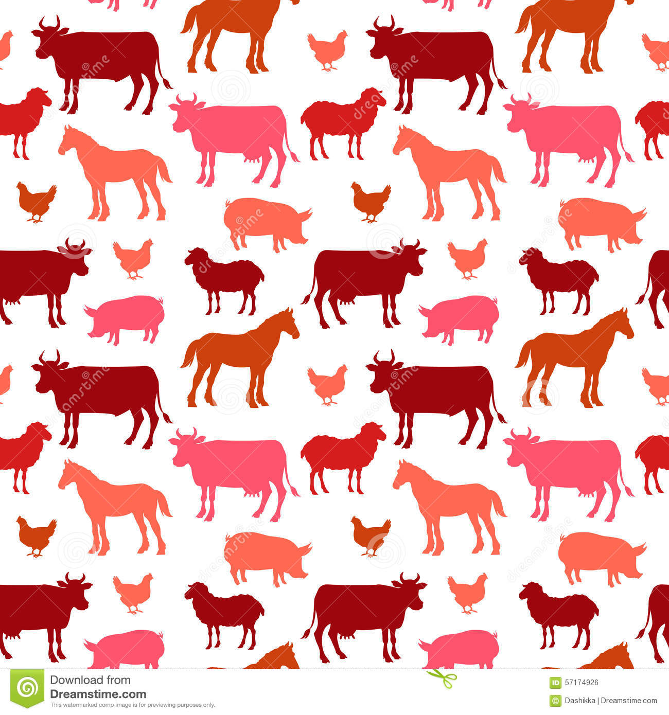 Beautiful Farm Animals Seamless Pattern In Color Stock