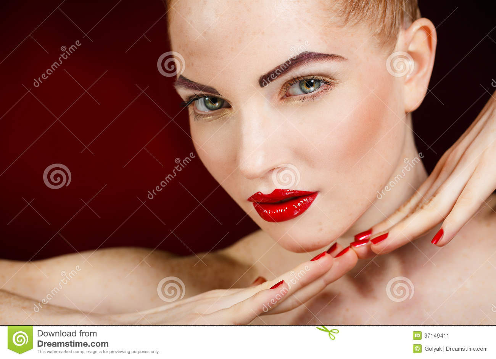 Beauty Makeup Fashion Model On Mirror Reflection Stock