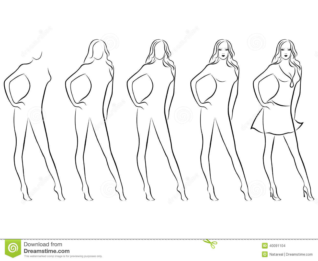 Beautiful Female Contour In Drawing Sequence Stock Vector