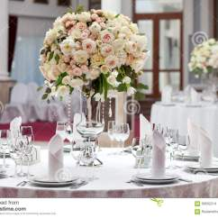 White 6 Chair Dining Table Wing Covers Canada Beautiful Flowers On In Wedding Day. Luxury Holiday Background. Stock Photo - Image: 68592214