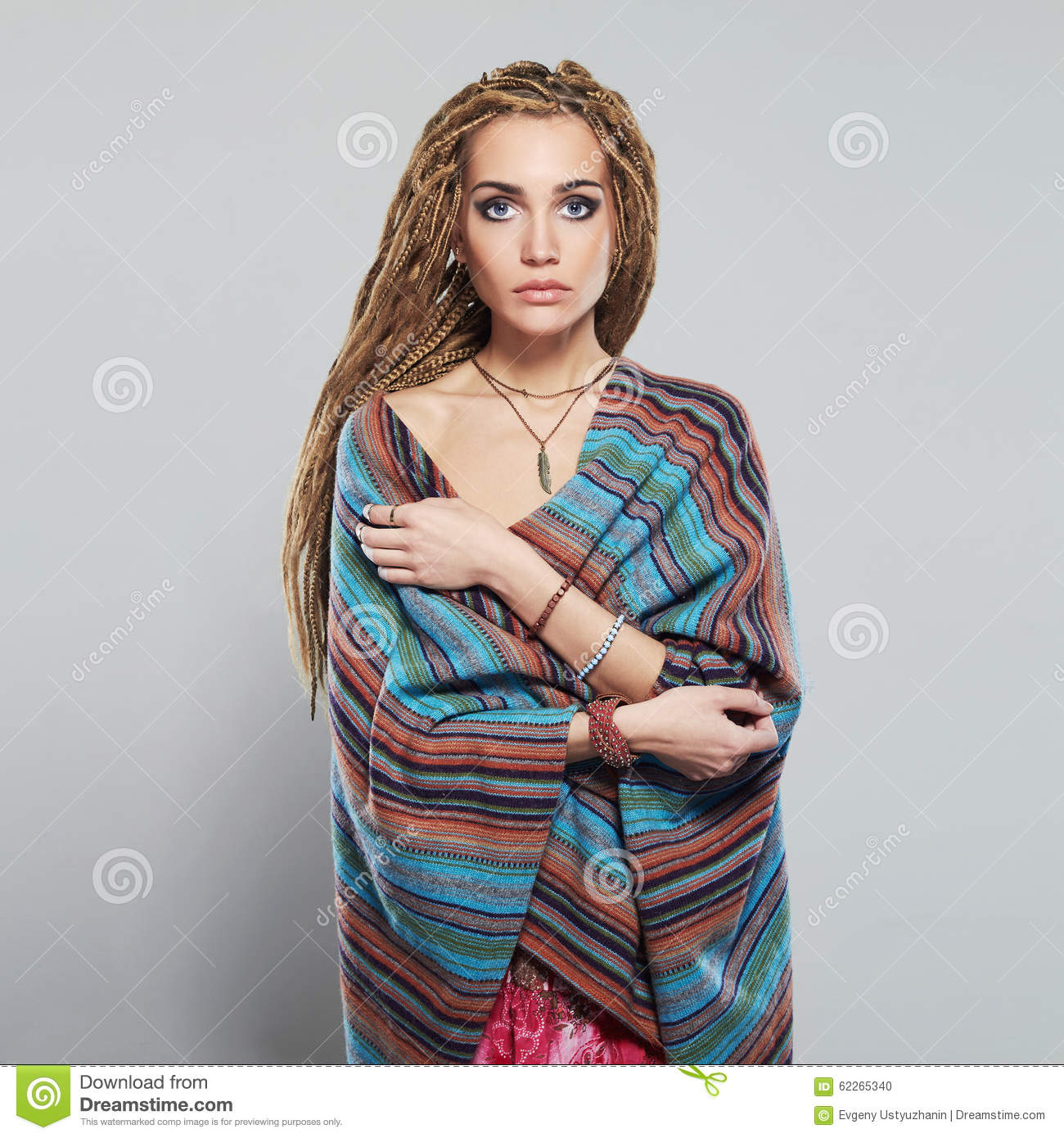 Beautiful Girl With Dreadlocks Pretty Young Woman With
