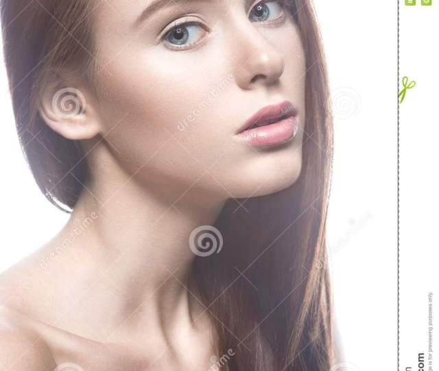 Beautiful Girl With A Light Nude Make Up And Blond Hair Beauty Face