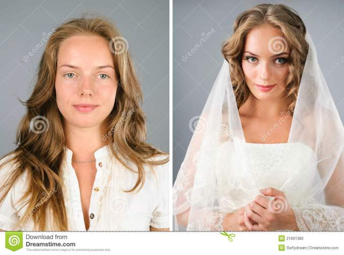 beautiful girl before and after makeover stock photo - image