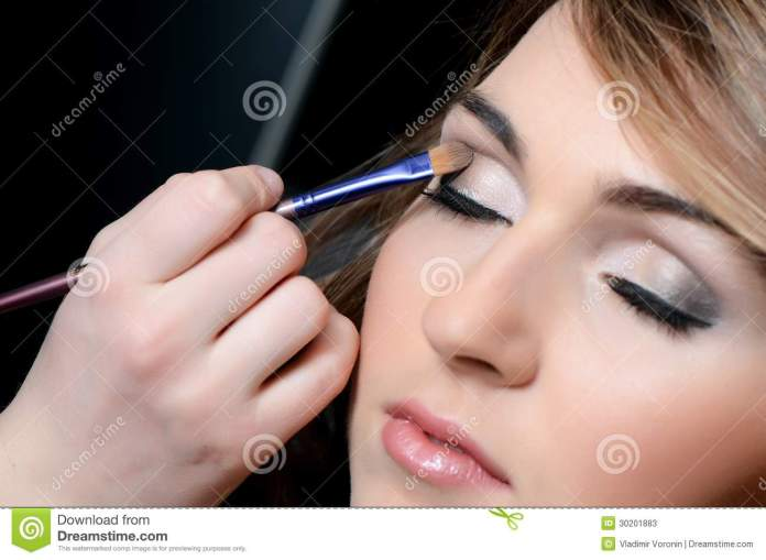 Girl Put The Makeup On The Face Stock Image Image Of Customer Lipstick 30201883