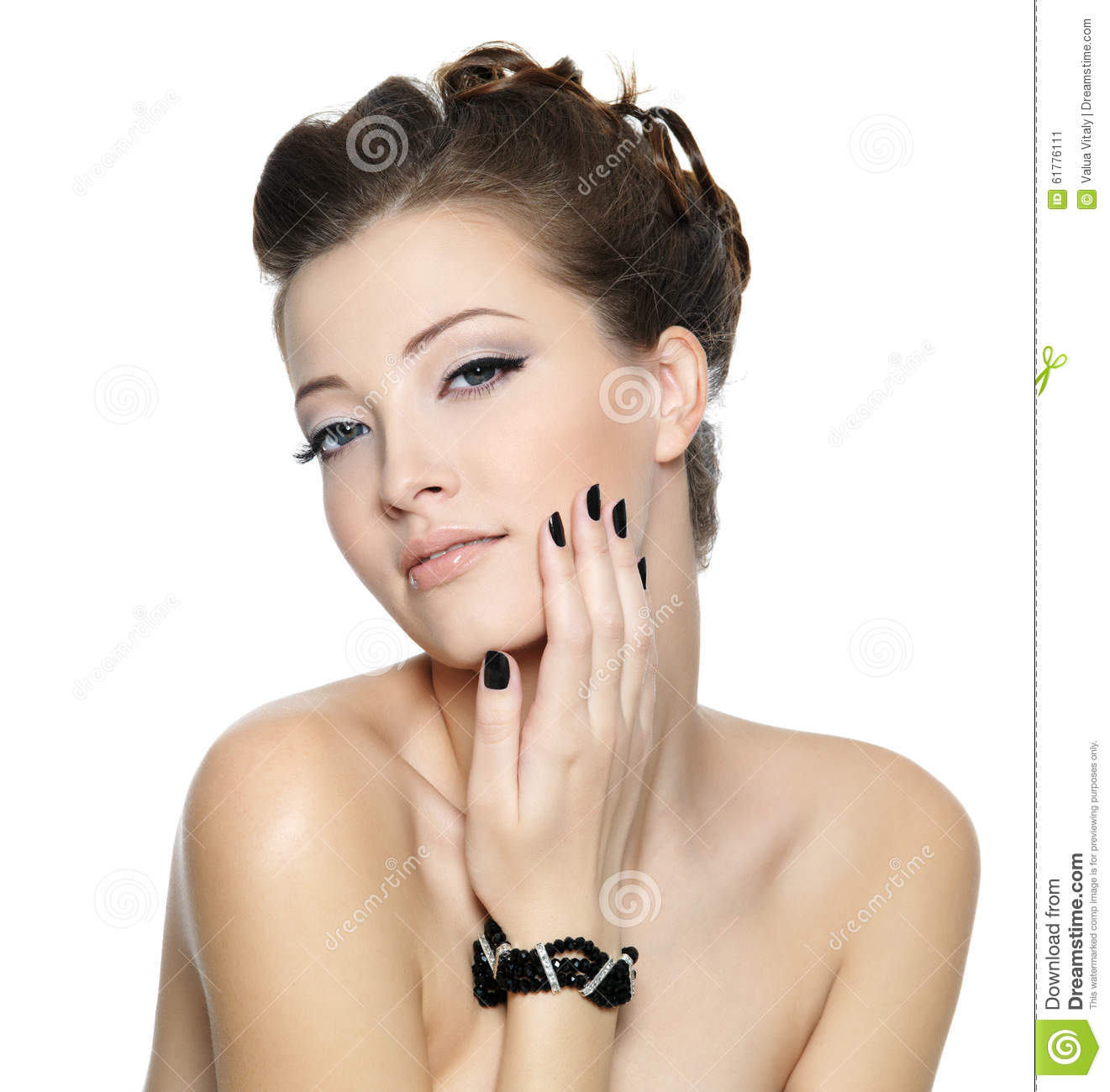 beautiful glamour woman with black nails stock photo - image: 61776111