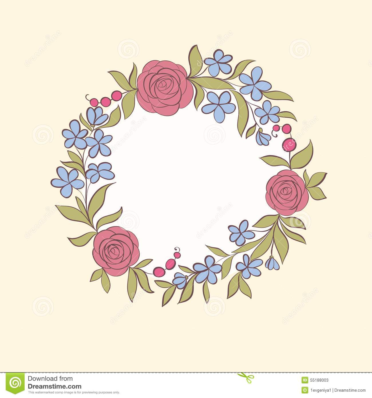 Beautiful Greeting Card Of Floral Wreath Hand Drawn
