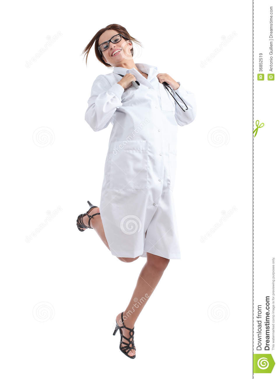 Beautiful Happy Female Doctor Jumping Happy Royalty Free