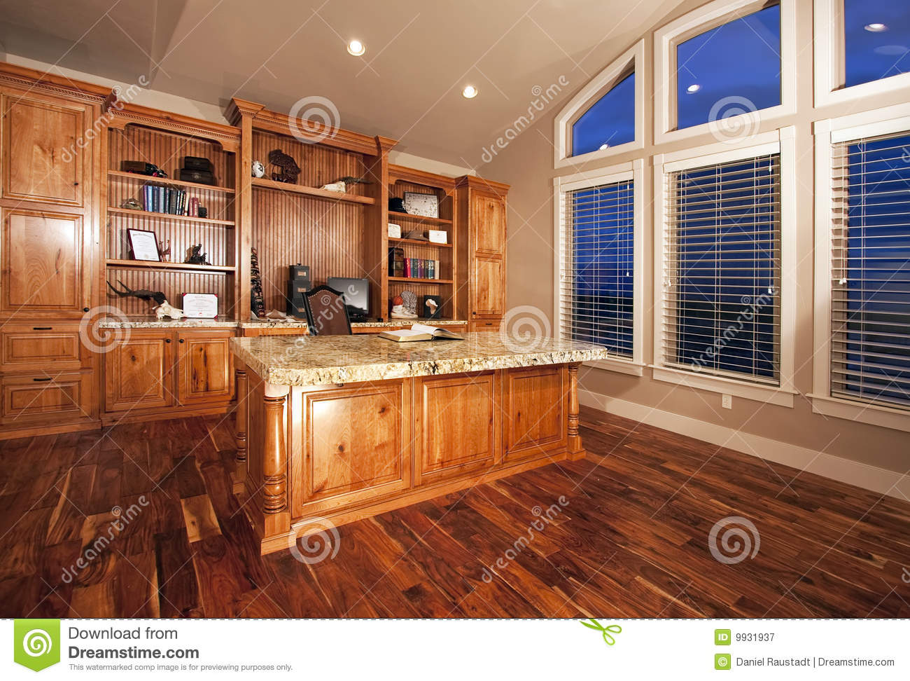 Beautiful Home Office With Wood Floors Stock Image  Image