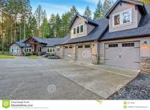 Beautiful House With Driveway. Stock - Of