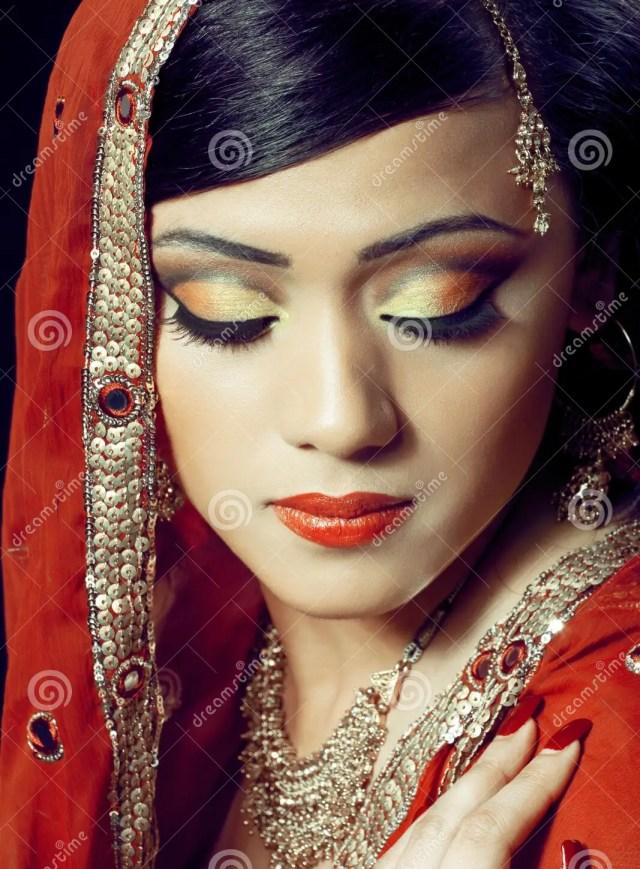 beautiful indian girl with bridal makeup stock photo - image