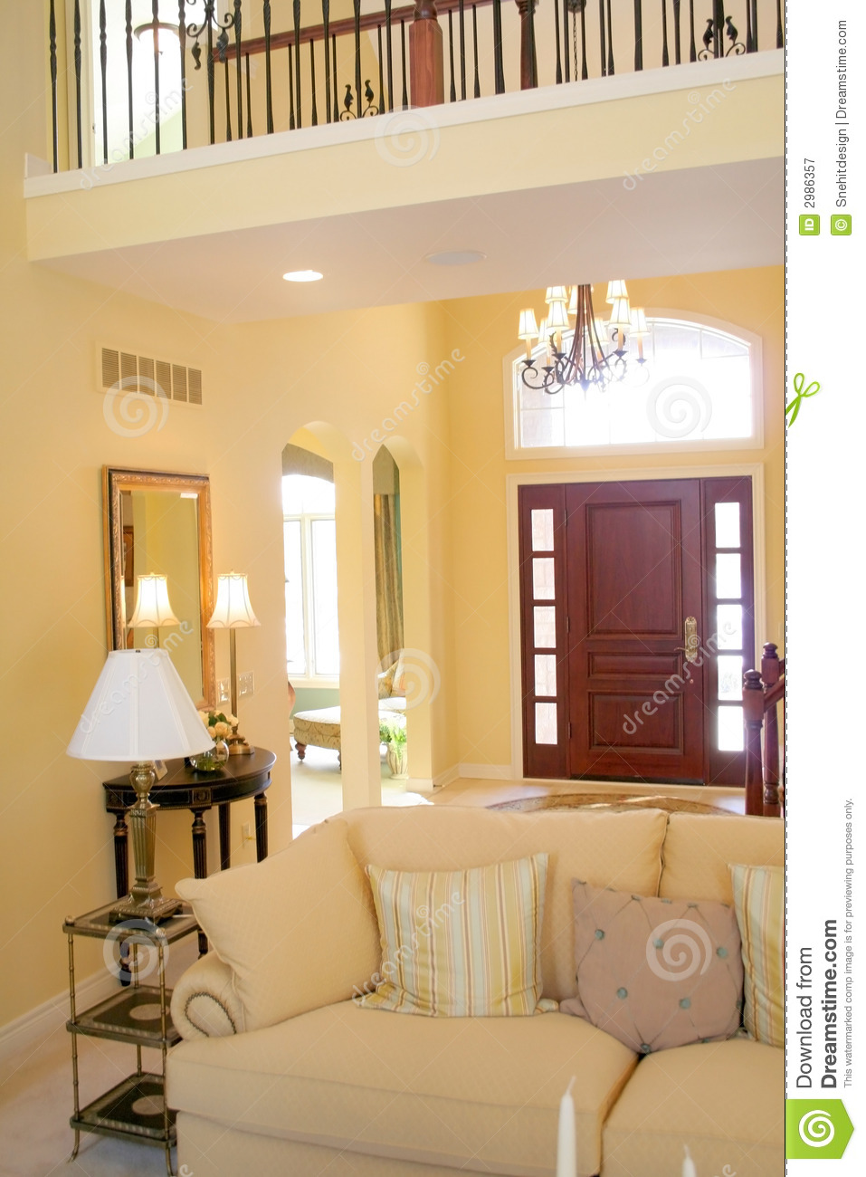 Beautiful Interiors stock image Image of lamp couches