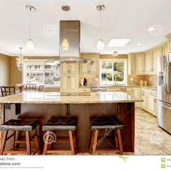 Beautiful Kitchen Islands American Made Cabinets Island With Granite Top And Hood Stock