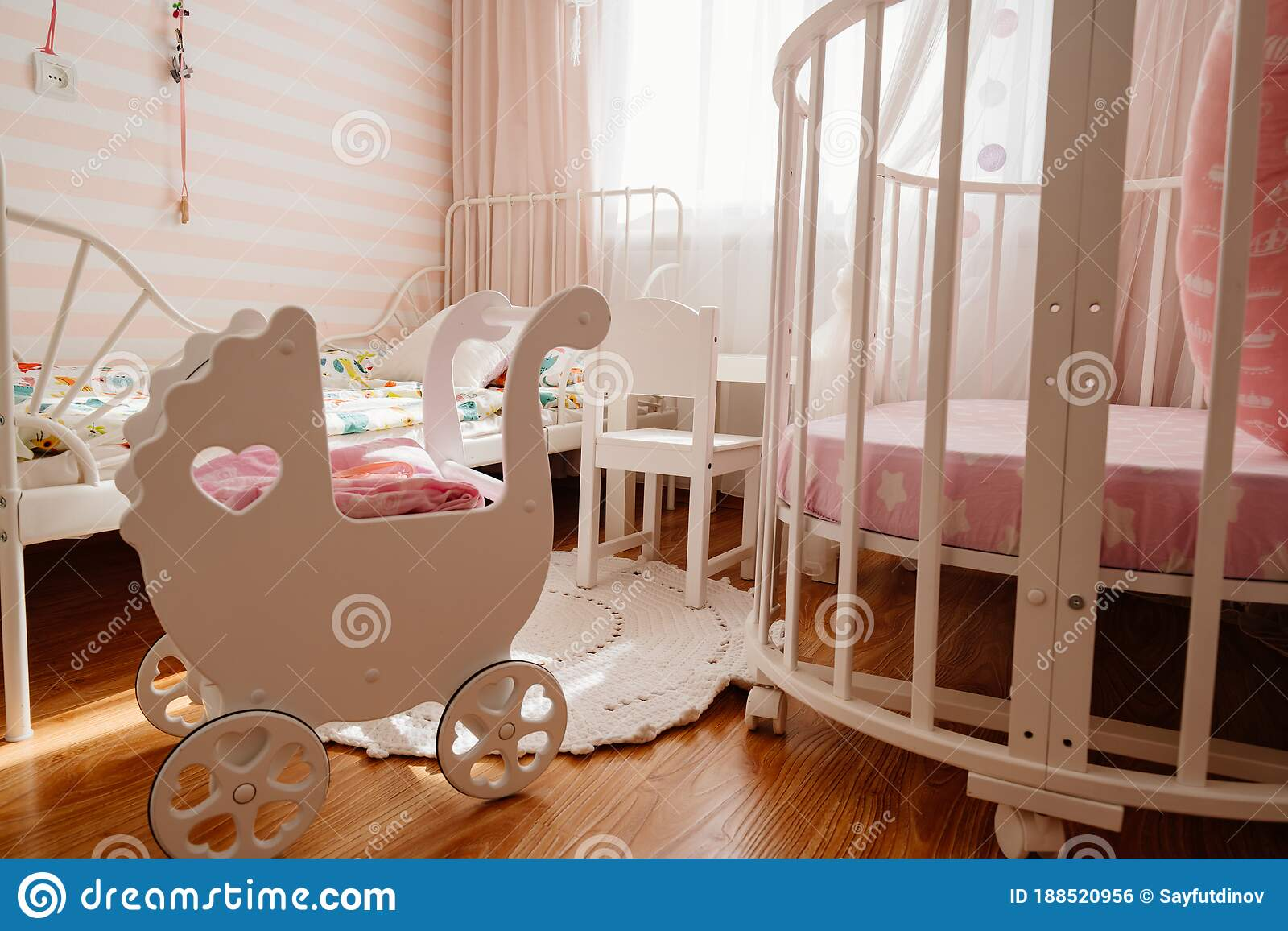 Beautiful Little Cosy White Kids Room With Two Beds For Girls Kids Stock Photo Image Of Beds Apartment 188520956