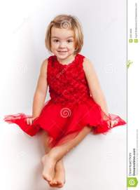 Beautiful Little Girl In Red Dresses Stock Image - Image ...