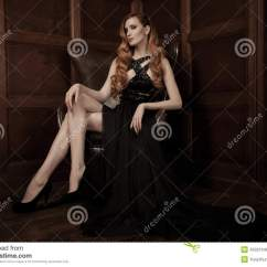 Woman Sitting In Chair Buy Covers Beautiful Luxurious On A Leather Vintage