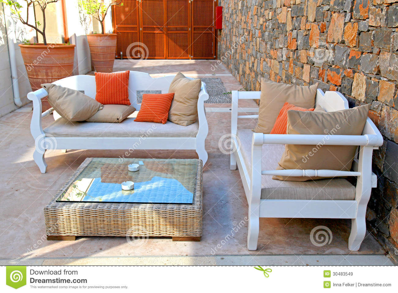Beautiful Mediterranean Patio With White Outdoor Furniture