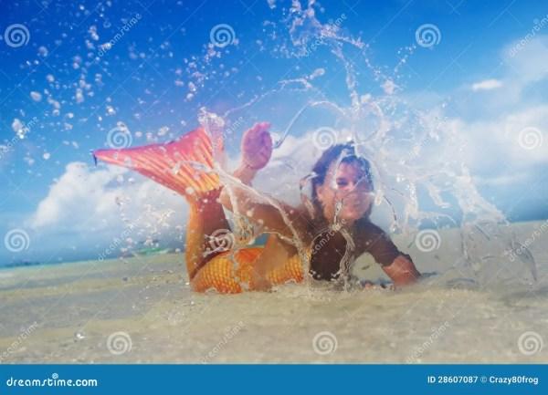Young Mermaid In Island Cartoon Vector #41503245