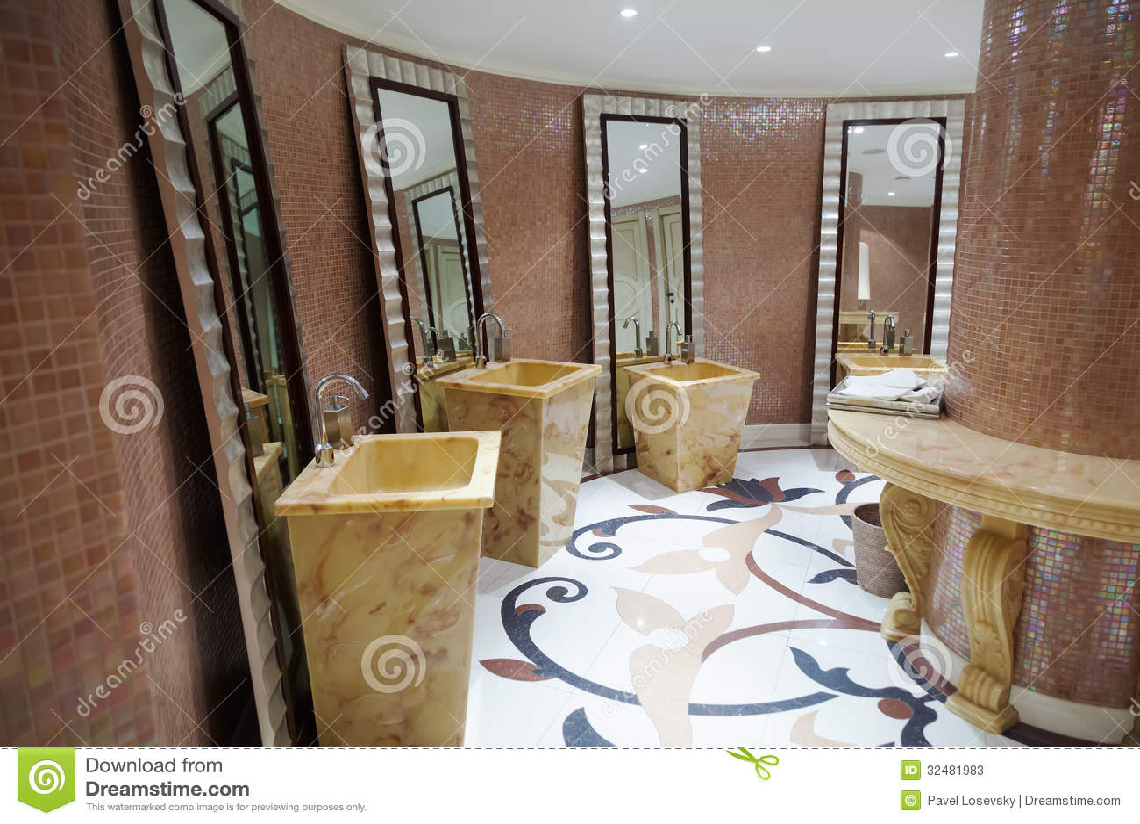 Beautiful modern washroom stock image Image of lavatory