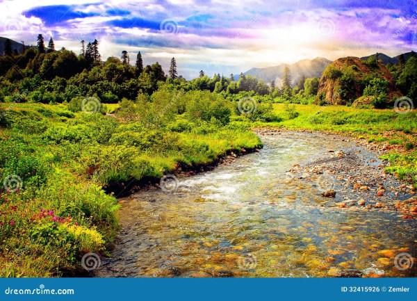 beautiful mountain river landscape