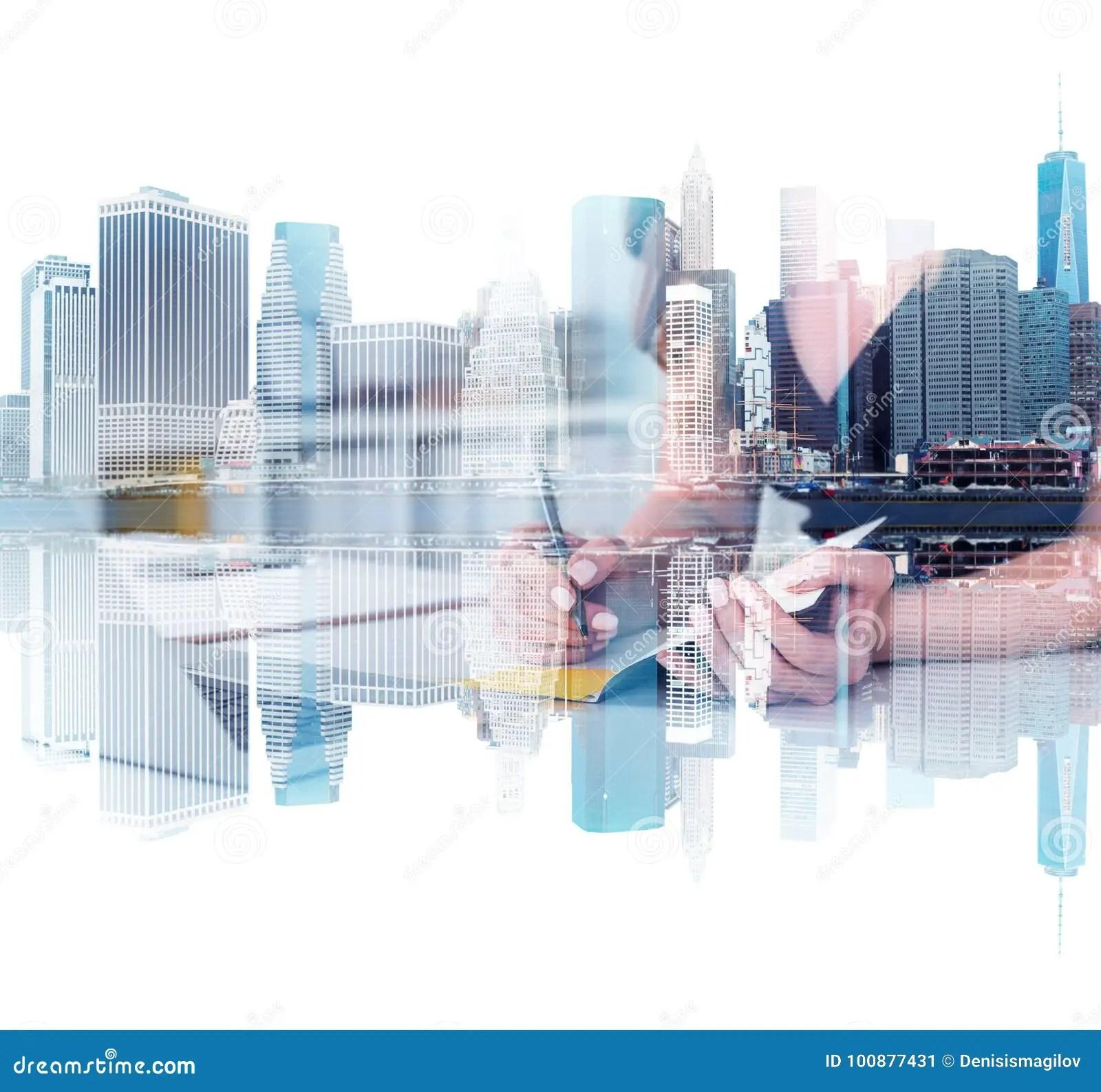New York Cityscape Businesswoman Writing Stock Image