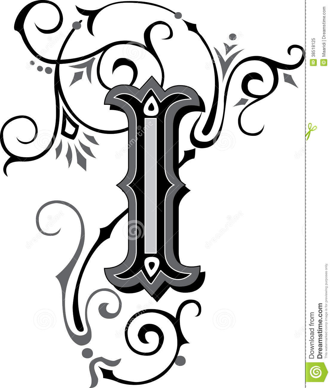 Beautiful Ornament, Letter I Royalty Free Stock Photo