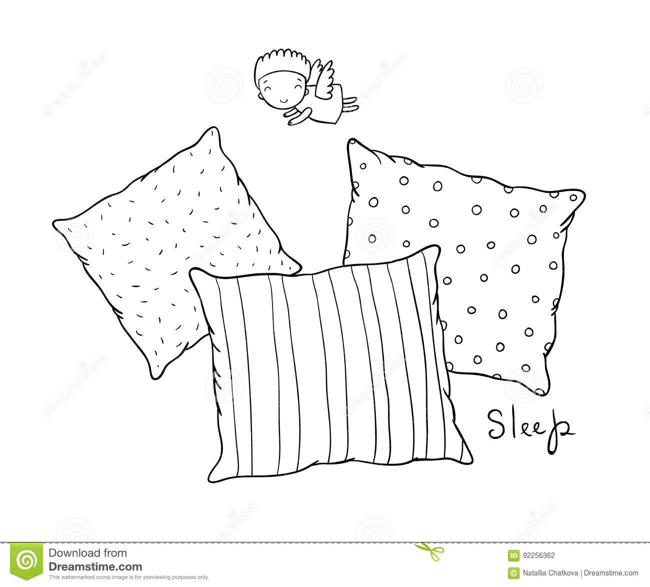 Beautiful Pillows And Cute Little Angel Stock Vector