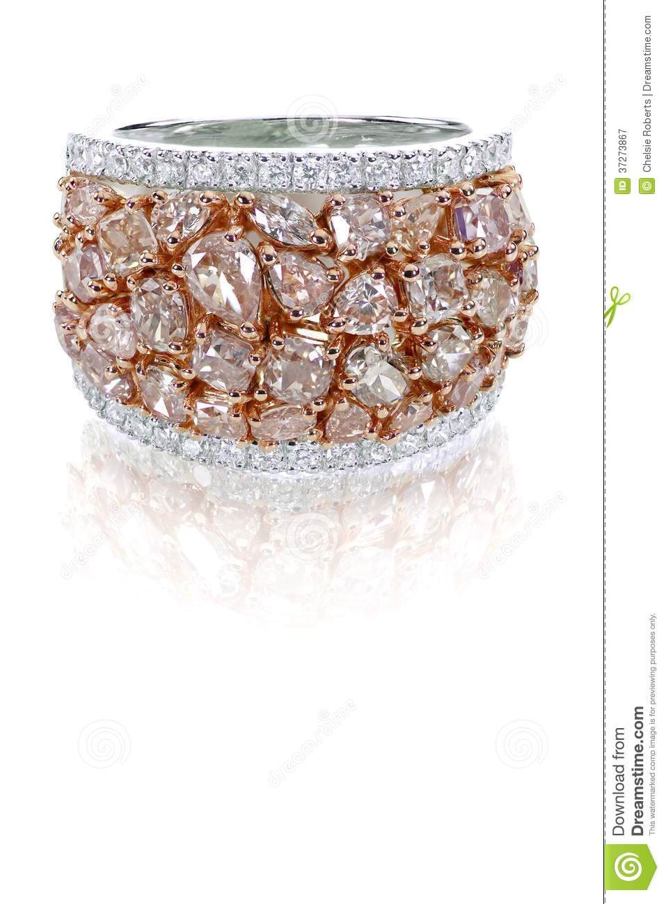 Beautiful Pink And White Diamond Ring Duotone With White