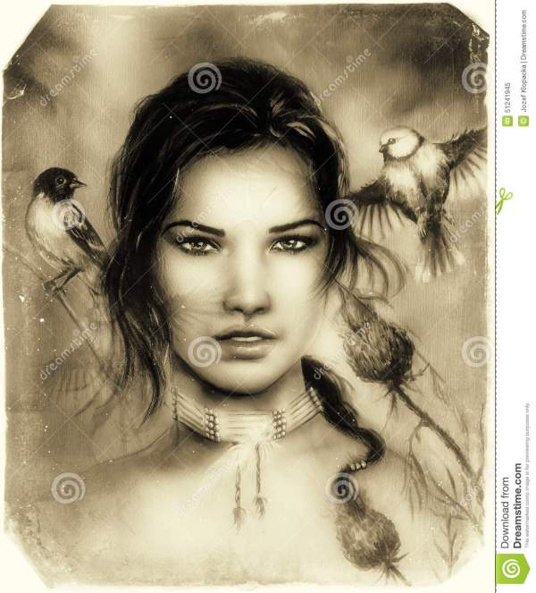 Beautiful Portrait Of Young Indian Woman Face With Birds Stock Illustration - 51241945