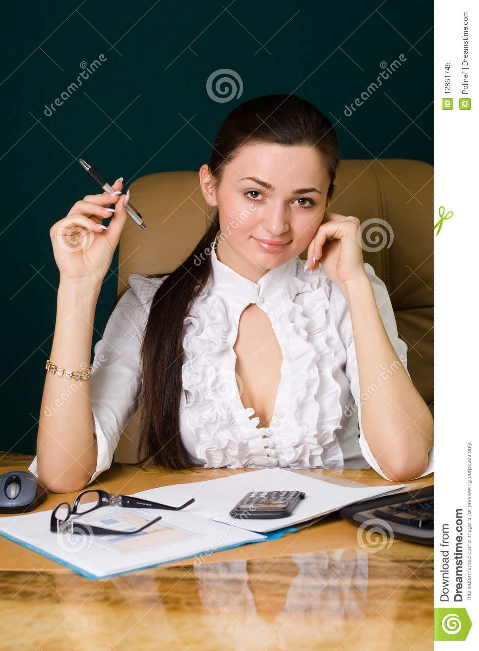 Beautiful Professional Woman Working In Office Royalty
