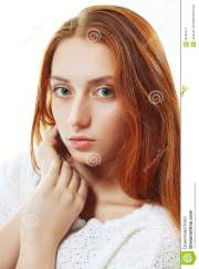 beautiful red-haired teenager stock