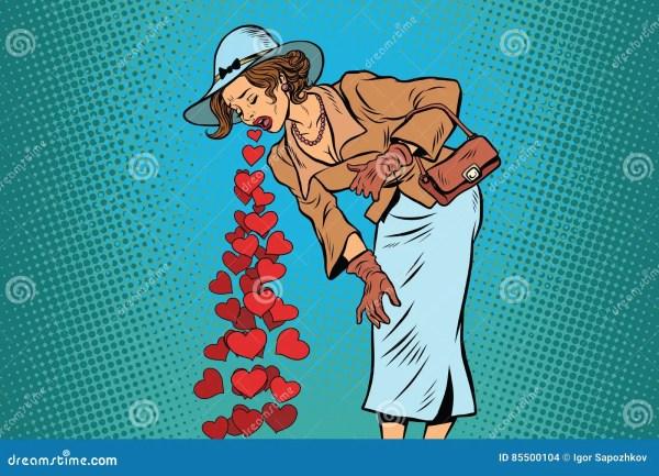 Beautiful Retro Woman Vomiting Valentines Heart Stock