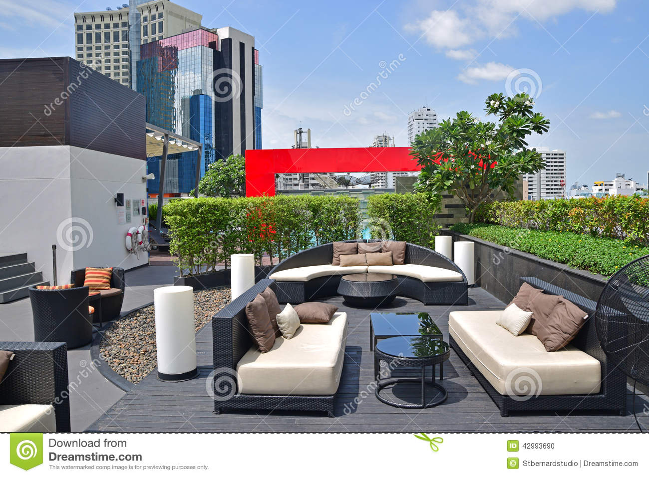 all weather wicker outdoor chairs zuma high chair beautiful rooftop settings for relaxation and recreational activities stock photo - image: 42993690