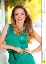 beautiful woman with green dress