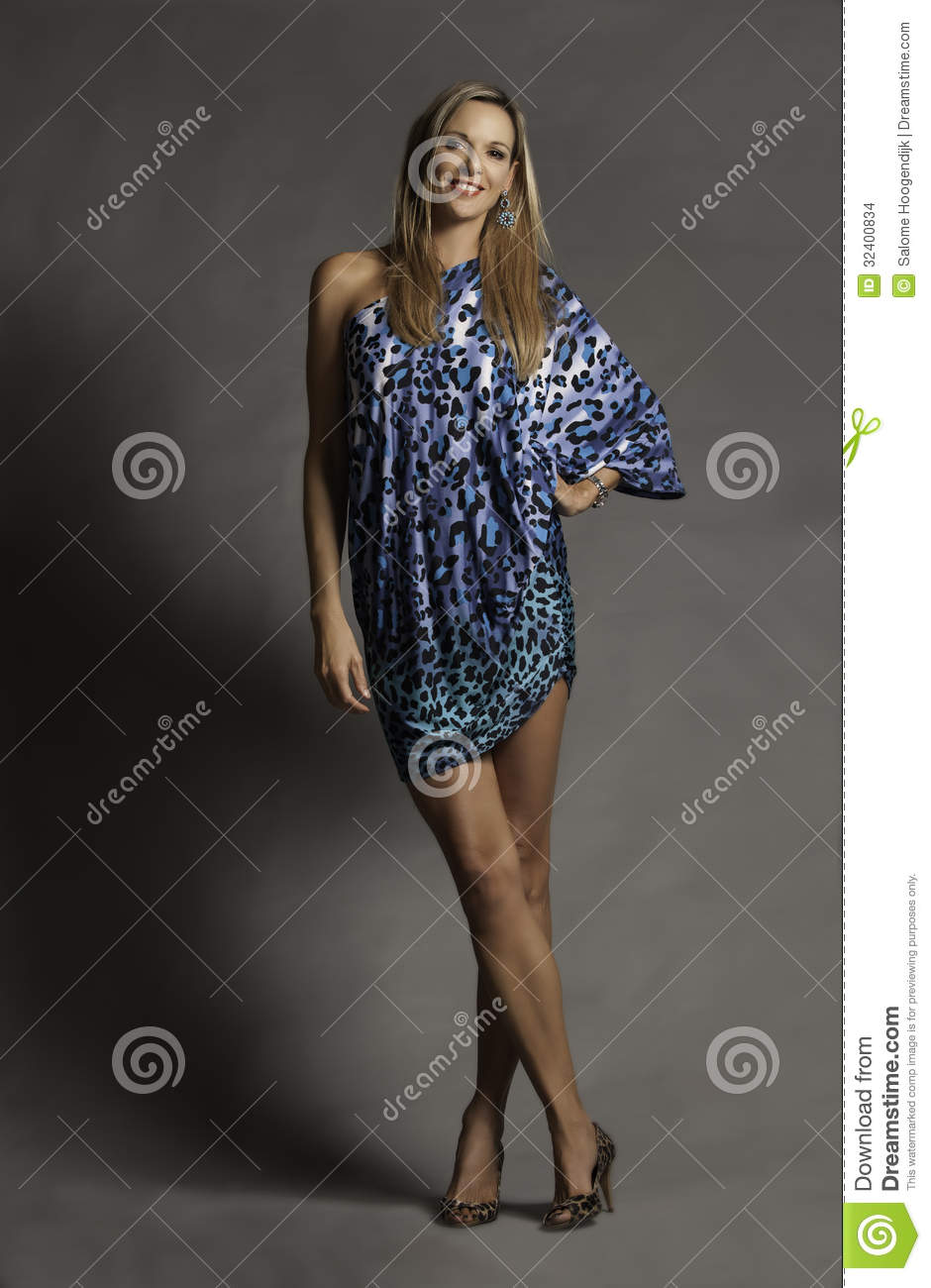 Beautiful Smiling Blonde Older Woman In Blue Leopard Print Dress Stock Images  Image 32400834