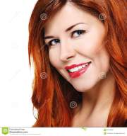 beautiful smiling woman with red