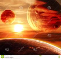 Beautiful Sunset Cloud And Planet Stock Illustration