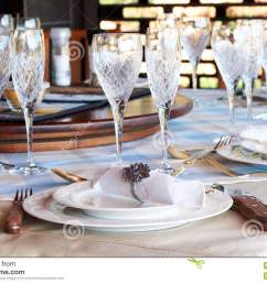 beautiful table setting with crystal glasses stock photo image of rh dreamstime com american formal table setting table setting diagram [ 1300 x 954 Pixel ]