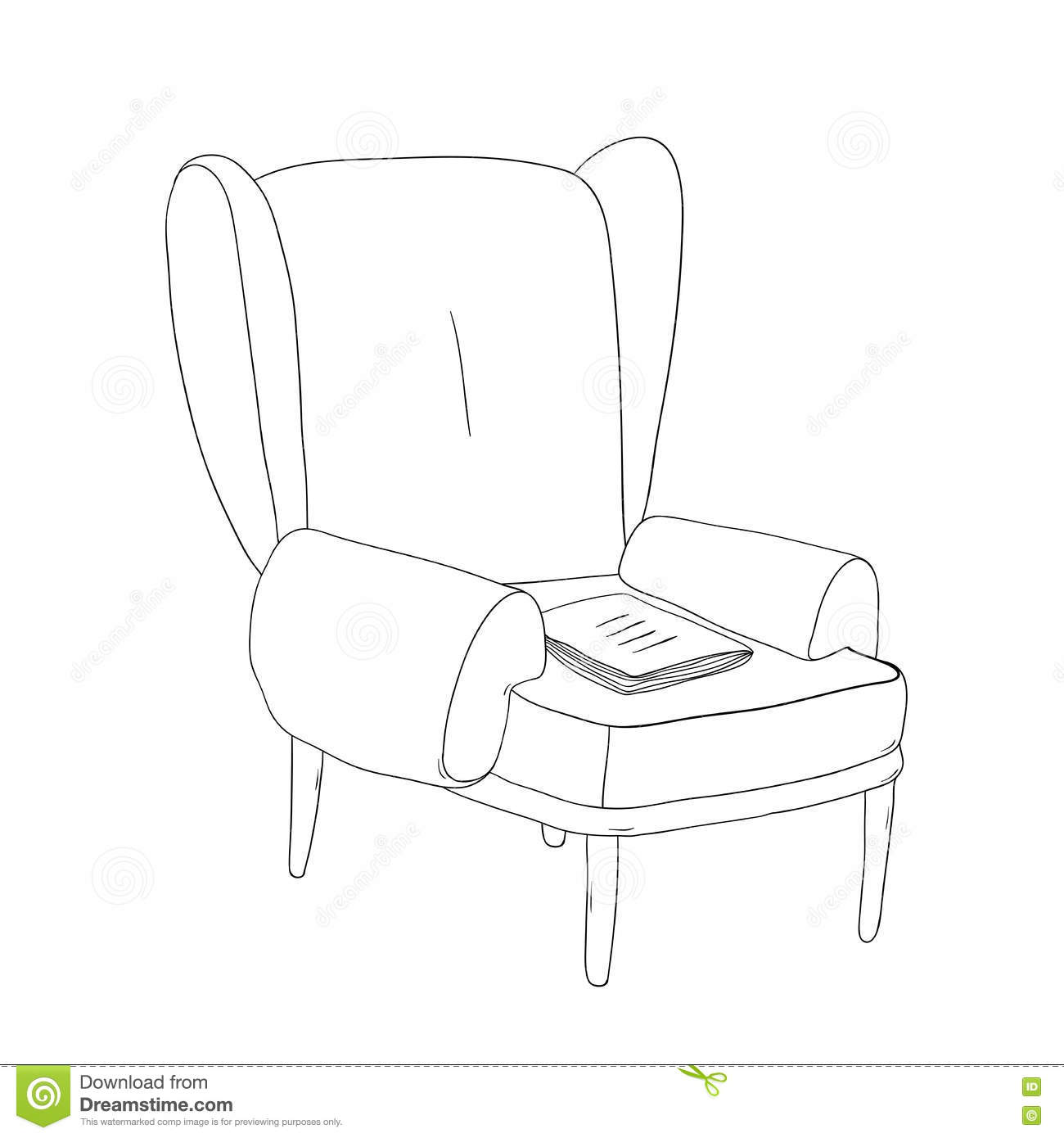 Beautiful Vintage Chair And Notebook Stock Vector