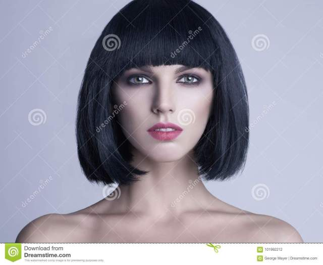 beautiful woman with bob haircut stock photo - image of girl